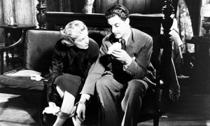Madeleine Carroll (Pamela) en Robert Donat (Richard Hannay) in The 39 Steps
