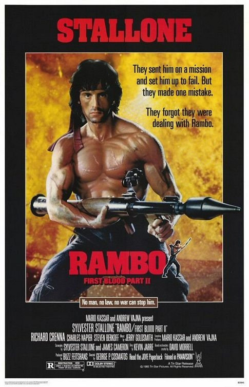 Rambo: First Blood Part II poster, copyright in handen van productiestudio en/of distributeur
