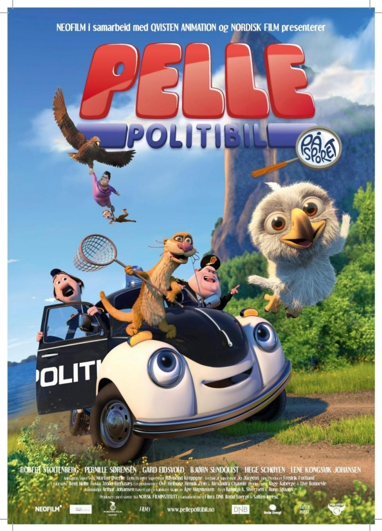 Pelle Politibil på sporet poster, copyright in handen van productiestudio en/of distributeur