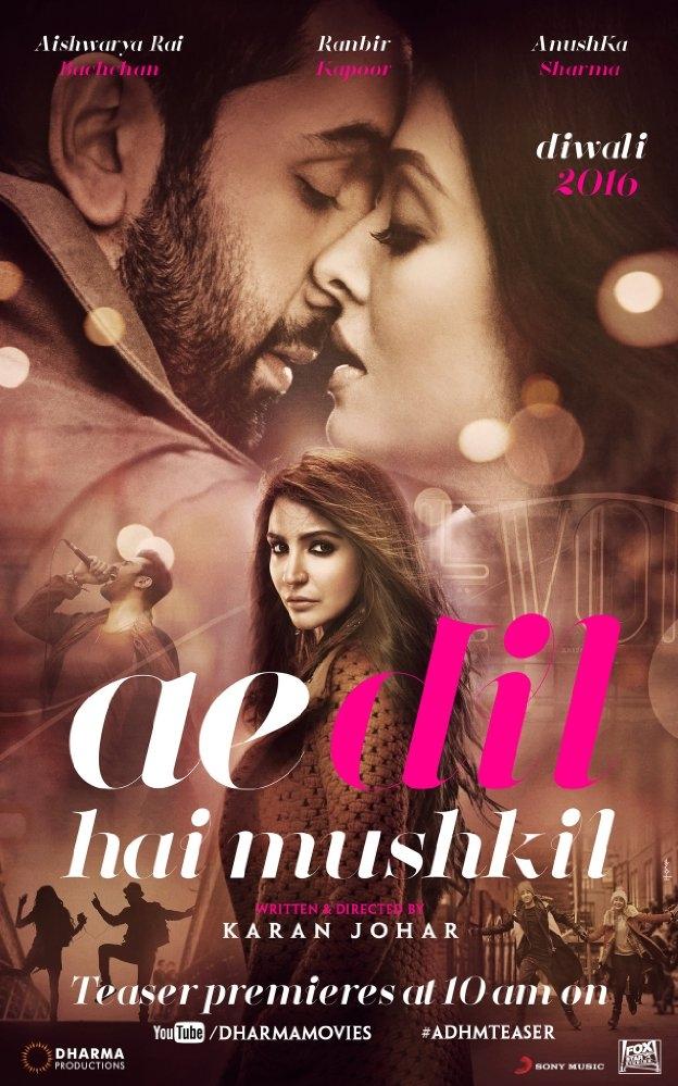 Ae Dil Hai Mushkil poster, copyright in handen van productiestudio en/of distributeur