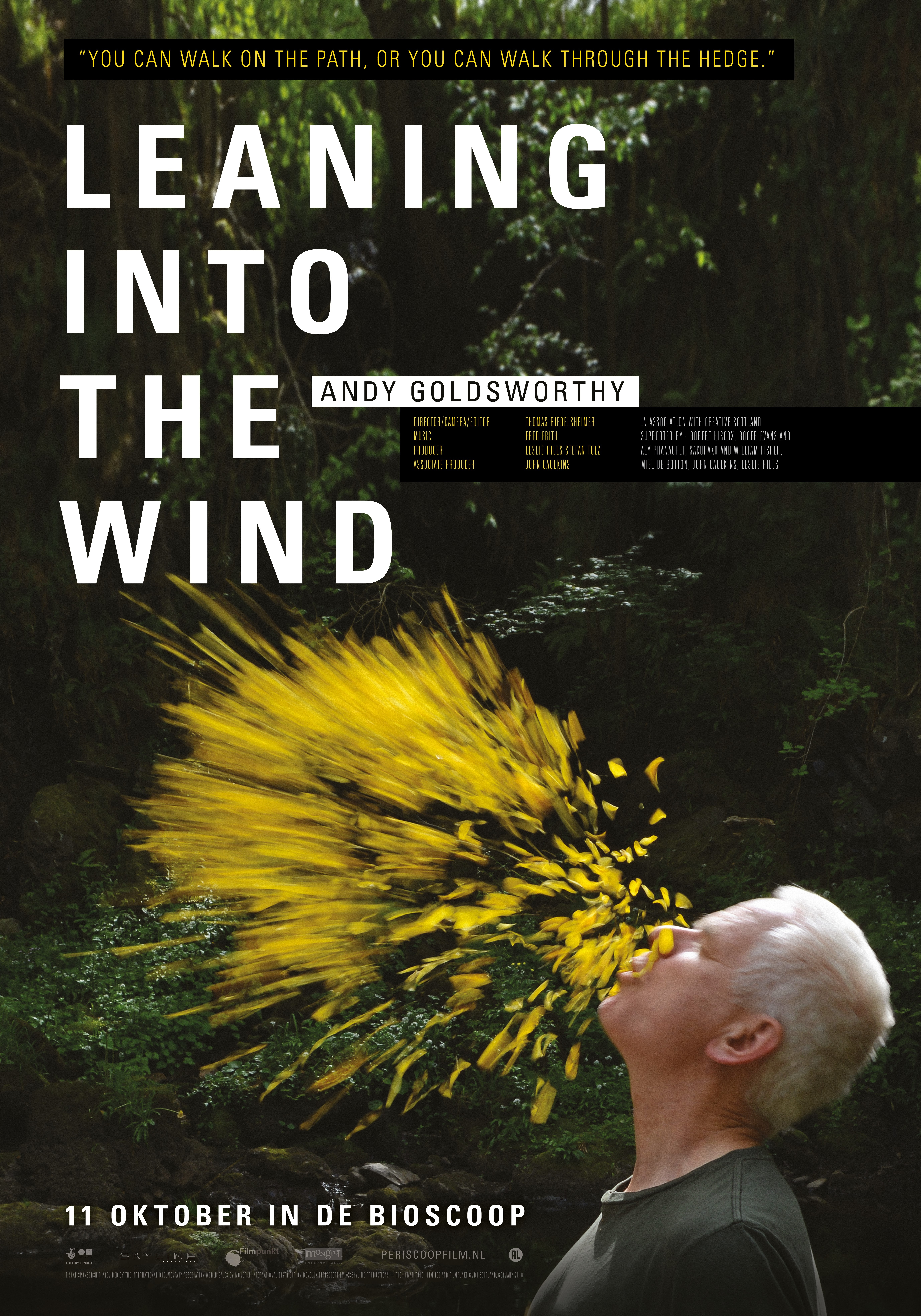 Leaning Into the Wind: Andy Goldsworthy poster, © 2017 Periscoop