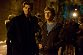 Jesse Eisenberg en Andrew Garfield in The Social Network