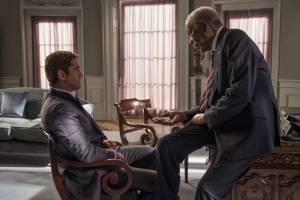 Angel Has Fallen: Gerard Butler (Mike Banning) en Morgan Freeman (Allan Trumbull)