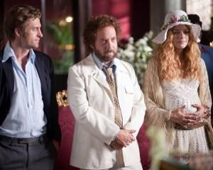 Barney's Version: Scott Speedman (Boogie), Paul Giamatti (Barney Panofsky) en Rachelle Lefevre (Clara)