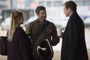 Bridget Jones's Baby: Renée Zellweger (Bridget Jones), Patrick Dempsey (Jack Qwant) en Colin Firth (Mark Darcy)