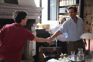 Call Me by Your Name: Timothée Chalamet (Elio Perlman), Michael Stuhlbarg (Mr. Perlman) en Armie Hammer (Oliver)