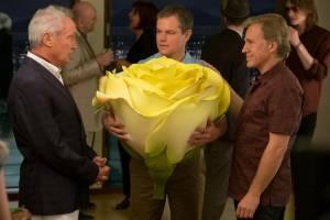 Downsizing: Udo Kier (Konrad), Matt Damon (Paul Safranek) en Christoph Waltz (Dusan Mirkovic)