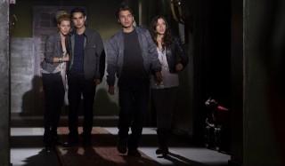 Rachael Taylor, Max Minghella, Emile Hirsch en Olivia Thirlby in The Darkest Hour
