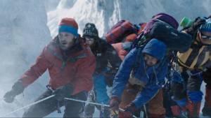 Everest (2015): Josh Brolin (Beck Weathers), Jason Clarke (Rob Hall), Jake Gyllenhaal (Scott Fischer) en John Hawkes (Doug Hansen)