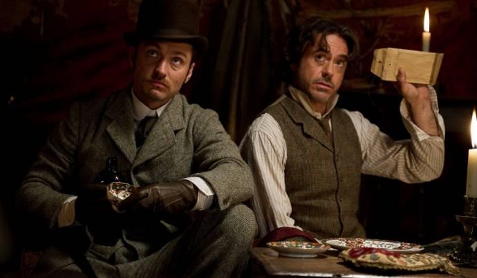 Jude Law (Dr. John Watson) en Robert Downey Jr. (Sherlock Holmes)