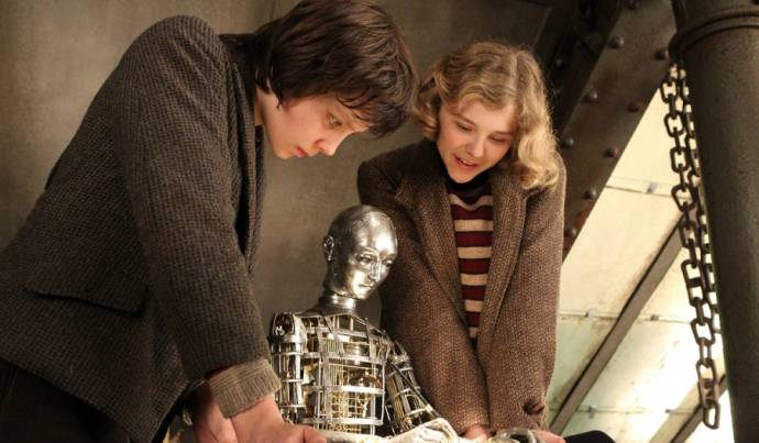 Asa Butterfield (Hugo Cabret) en Chloë Grace Moretz (Isabelle)