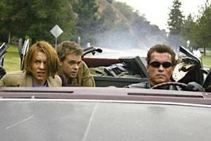 Claire Danes (Kate Brewster), Nick Stahl (John Connor) en Arnold Schwarzenegger (Terminator)