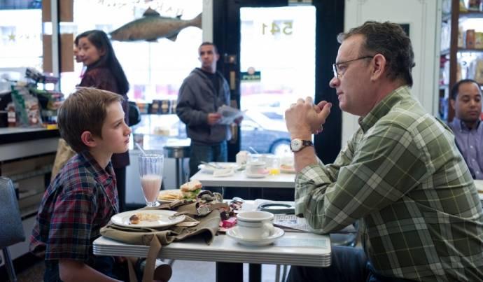 Thomas Horn (Oskar Schell) en Tom Hanks (Thomas Schell Jr.)