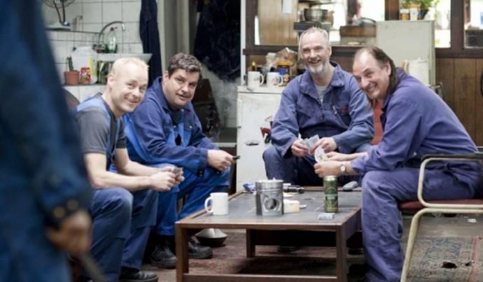 Marcel Hensema (Kees), Frank Lammers (Nico), Stefan de Walle (Leo) en Martin van Waardenberg (Gerard)