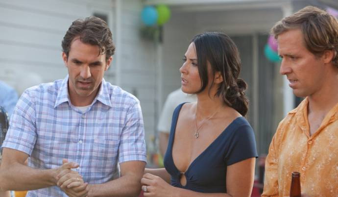 Olivia Munn (Audrey), Paul Schneider (Tommy) en Kevin Heffernan (I) (Wade) in The Babymakers