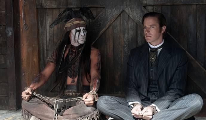 Johnny Depp (Tonto) en Armie Hammer (John Reid / The Lone Ranger)