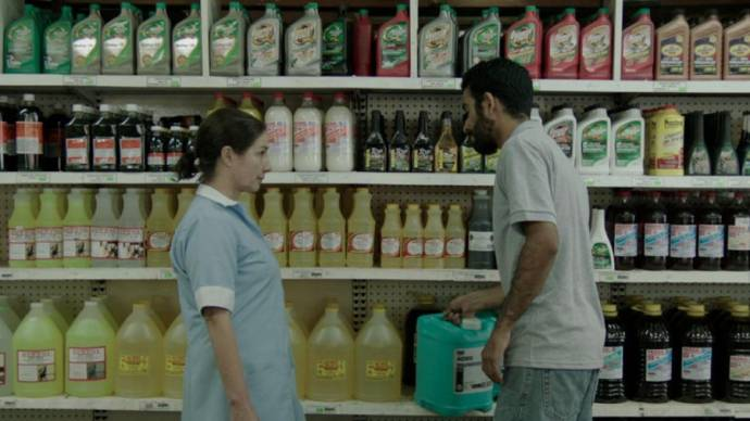 Susana Salazar (Lidia) en Giancarlo Ruiz (Gerente) in Workers
