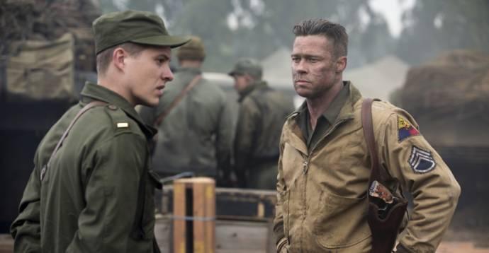 Logan Lerman (Norman Ellison) en Brad Pitt (Wardaddy)