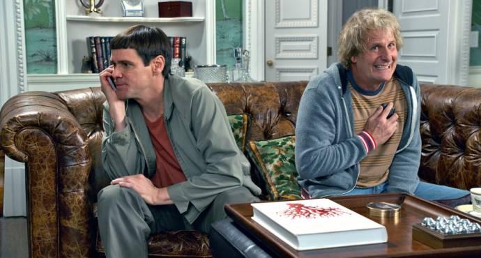 Jim Carrey (Lloyd Christmas) en Jeff Daniels (Harry Dunne)