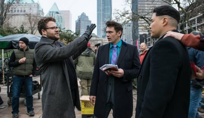 Seth Rogen (Aaron Rappaport), James Franco (David Skylark) en Randall Park (Kim Jung Un)
