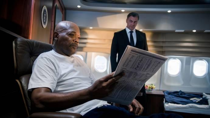 Samuel L. Jackson (The President) en Ray Stevenson (Morris)