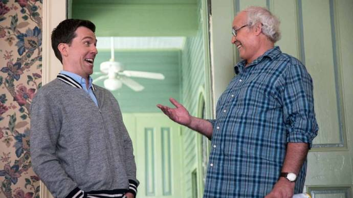 Ed Helms (Rusty Griswold) en Chevy Chase (Clark Griswold)