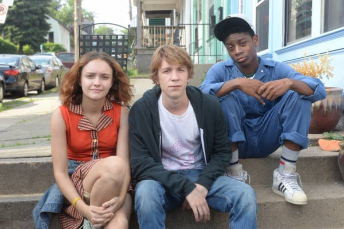 Olivia Cooke (Rachel), Thomas Mann (Greg) en RJ Cyler (Earl) in Me and Earl and the Dying Girl