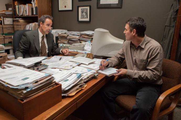 Stanley Tucci (Mitchell Garabedian) en Mark Ruffalo (Michael Rezendes)