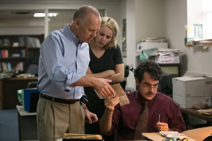 Michael Keaton (Walter 'Robby' Robinson), Rachel McAdams (Sacha Pfeiffer) en Brian d'Arcy James (Matty Carroll)