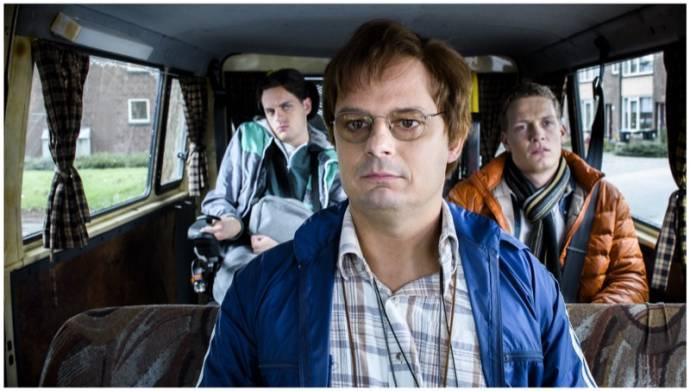 Yannick van de Velde (Philip), Bas Hoeflaak (Joost) en Martijn Lakemeier (Lars)