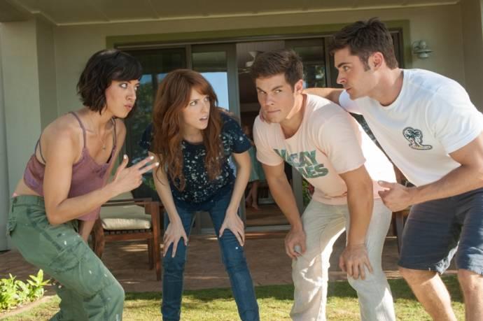 Aubrey Plaza (Tatiana), Anna Kendrick (Alice), Adam DeVine (Mike Stangle) en Zac Efron (Dave Stangle) in Mike and Dave Need Wedding Dates