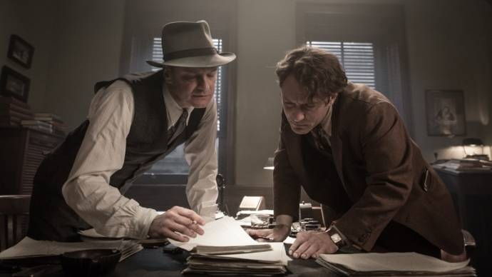 Colin Firth (Max Perkins) en Jude Law (Thomas Wolfe)