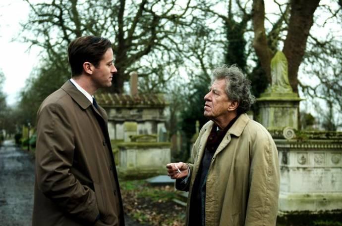 Armie Hammer (James Lord) en Geoffrey Rush (Alberto Giacometti)
