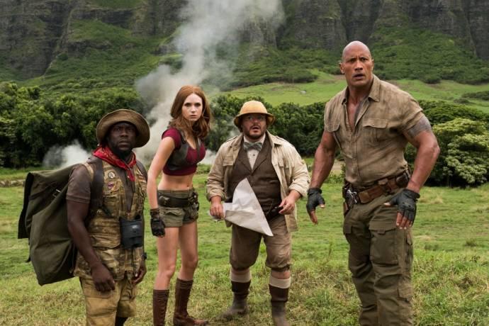 Kevin Hart (Moose Finbar), Karen Gillan (Ruby Roundhouse), Jack Black (Professor Shelly Oberon) en Dwayne Johnson (Dr. Smolder Bravestone)