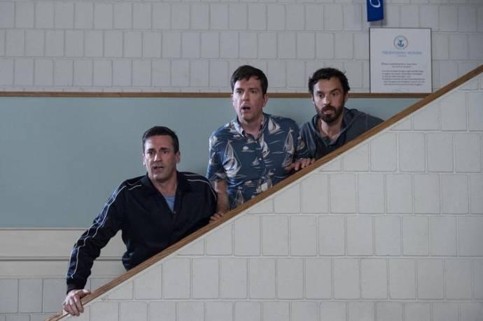 Jon Hamm (Callahan), Ed Helms (Hoagie) en Jake M. Johnson (Randy)