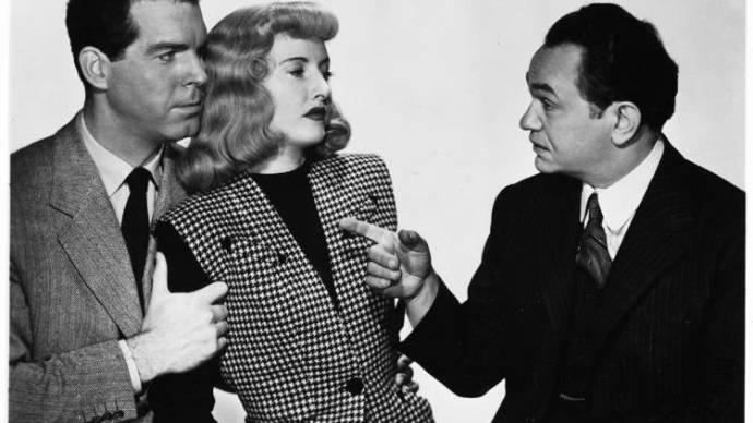 Fred MacMurray (Walter Neff), Barbara Stanwyck (Phyllis Dietrichson) en Edward G. Robinson (Barton Keyes)