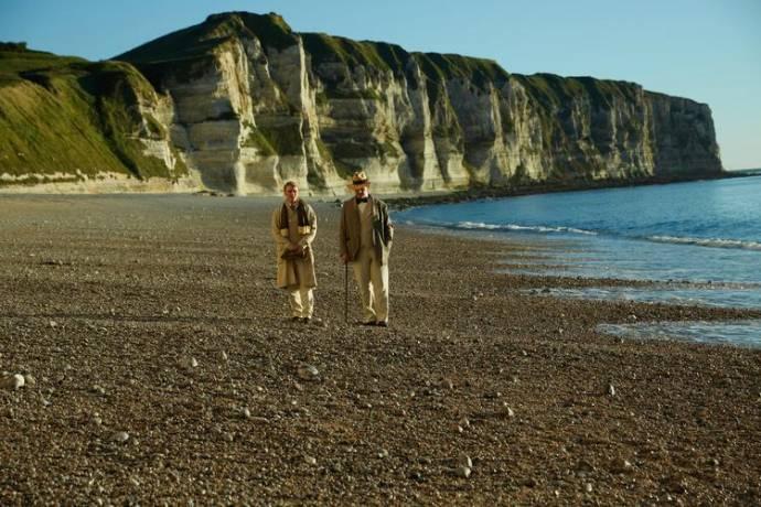 Colin Morgan (Alfred Bosie Douglas) en Rupert Everett (Oscar Wilde) in The Happy Prince