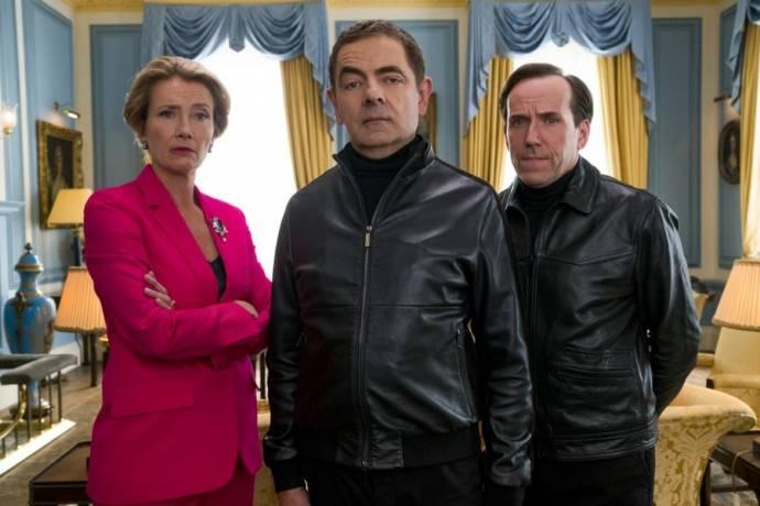 Emma Thompson (Prime Minister), Rowan Atkinson (Johnny English) en Ben Miller (II) (Bough)