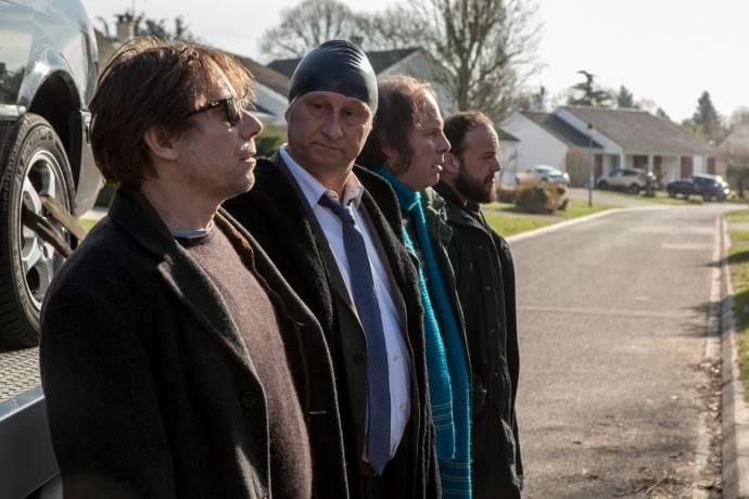 Mathieu Amalric (Bertrand), Benoît Poelvoorde (Marcus), Philippe Katerine (Thierry) en Alban Ivanoff (Basile)