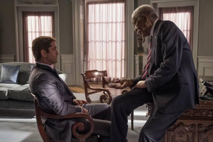 Gerard Butler (Mike Banning) en Morgan Freeman (Allan Trumbull)