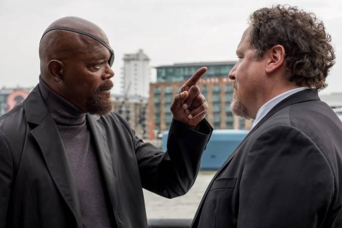 Samuel L. Jackson (Nick Fury) en Jon Favreau (Happy Hogan)