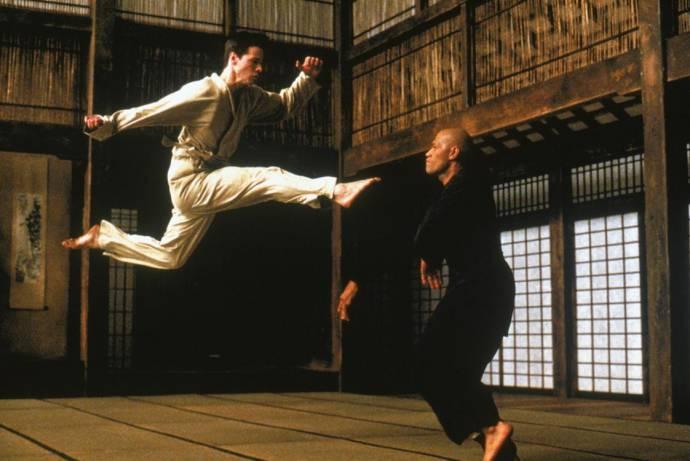 Keanu Reeves (Neo) en Laurence Fishburne (Morpheus)