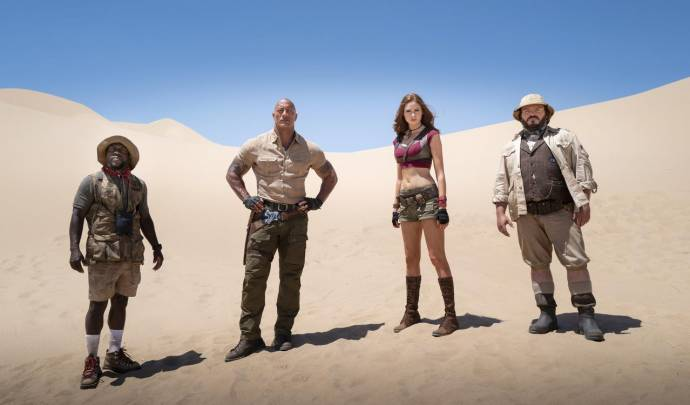 Kevin Hart (Mouse Finbar / Fridge), Dwayne Johnson (Eddie), Karen Gillan (Martha) en Jack Black (Bethany / Fridge)