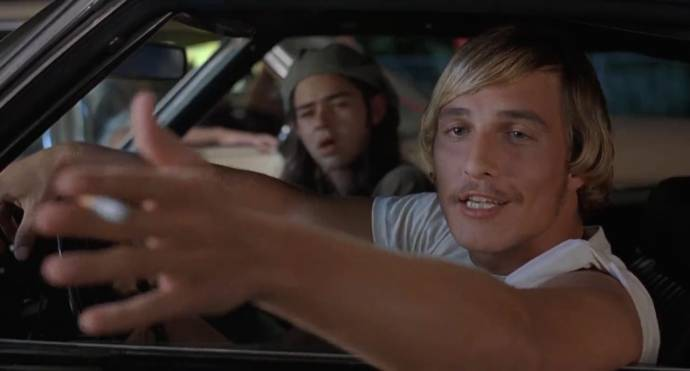 Rory Cochrane (Slater) en Matthew McConaughey (Wooderson) in Dazed and Confused