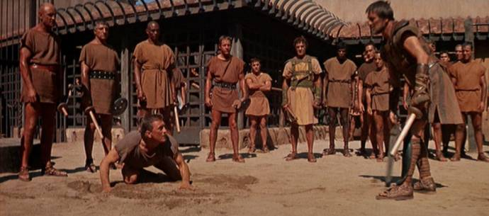 Kirk Douglas (Spartacus) en Harold J. Stone (David)