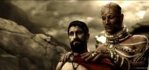 Gerard Butler (King Leonidas) en Rodrigo Santoro (Xerxes)