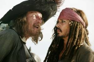 Barbossa (Geoffrey Rush) en Kapitein Jack Sparrow (Johnny Depp) in At World's End