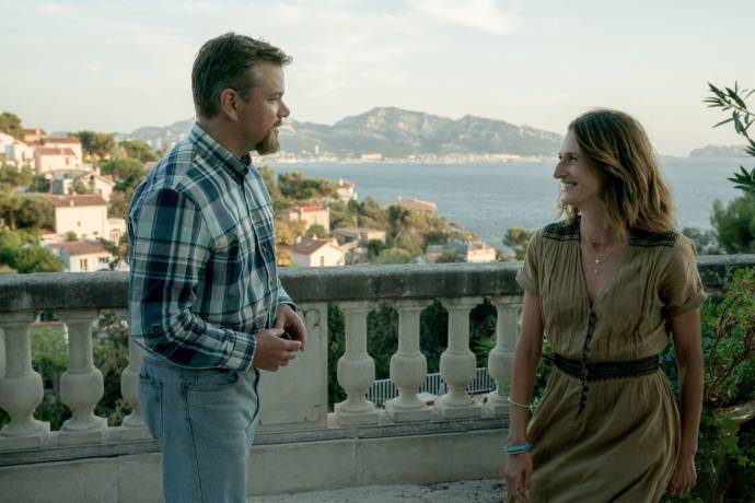 Matt Damon (Bill Baker) en Camille Cottin (Virginie) in Stillwater