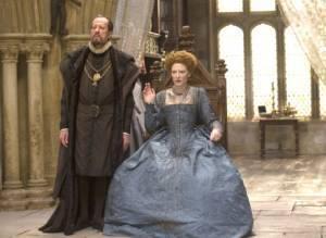 Cate Blanchett (Queen Elizabeth I) en Geoffrey Rush (Sir Francis Walsingham)