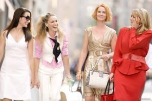 Kim Cattrall (Samantha Jones), Kristin Davis (Charlotte York), Sarah Jessica Parker (Carrie Bradshaw) en Cynthia Nixon (Miranda Hobbes)
